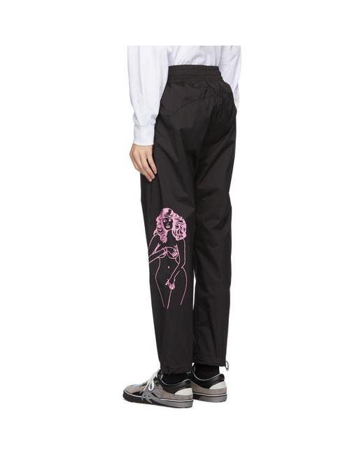 メンズ Palm Angels ブラック グラフィック トラック パンツ Black
