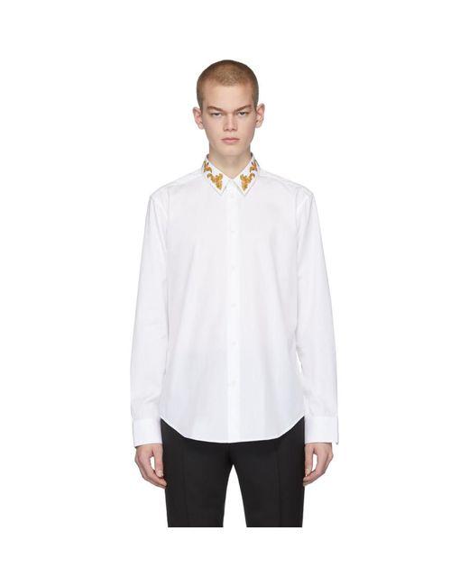 メンズ Versace ホワイト Barocco カラー シャツ White