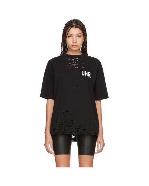 Unravel Project ブラック Lax ディストレス Skate T シャツ Black