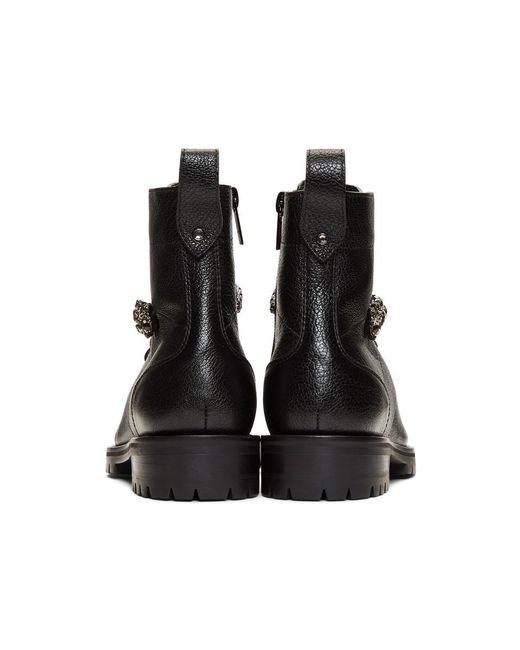 104f25a925a ... Jimmy Choo - Black Grained Cruz Flat Boots - Lyst ...