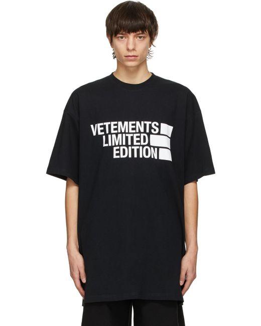 メンズ Vetements ブラック Limited Edition Big ロゴ T シャツ Black