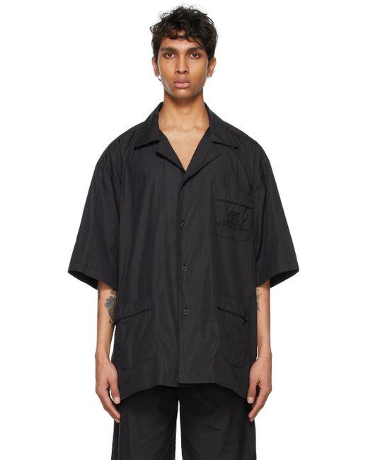 メンズ Balenciaga ブラック パジャマ ショート スリーブ シャツ Black