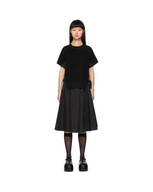 Sacai ブラック ニット パネル ドレス Black