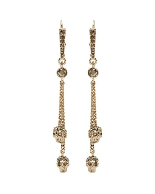 Alexander McQueen Metallic Gold Skull Chain Earrings