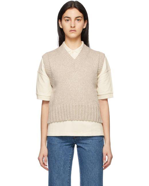 AMI ベージュ ノースリーブ V ネック セーター Natural