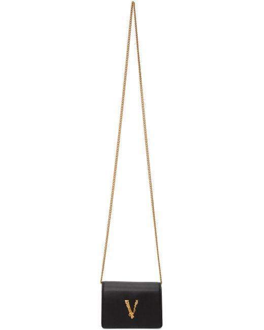 Versace ブラック Virtus クロス ボディ カード バッグ Black