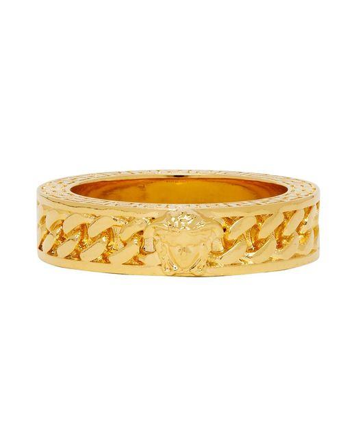 Versace Metallic Gold Medusa Band Ring for men