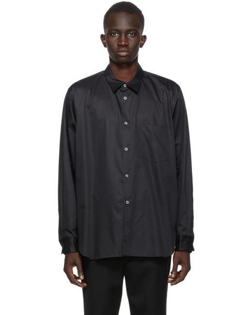 メンズ Comme des Garçons ブラック ブロードクロス カットアウト シャツ Black