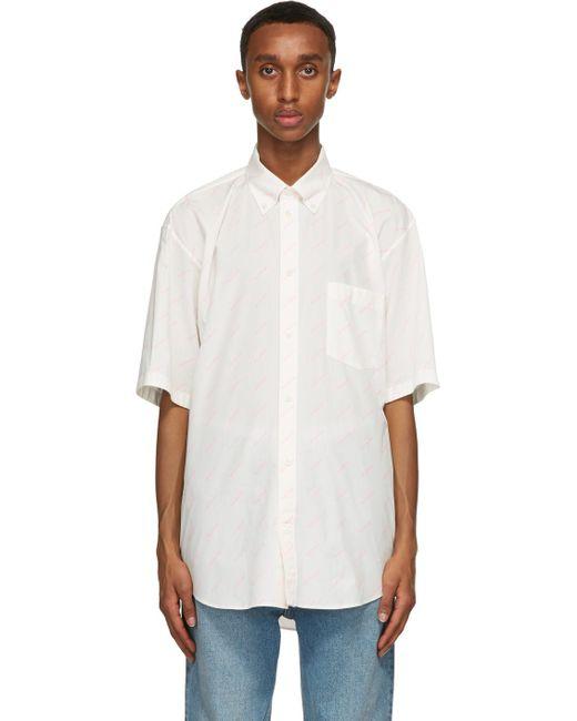 メンズ Balenciaga ホワイト ロゴ ノーマル フィット ショート スリーブ シャツ White