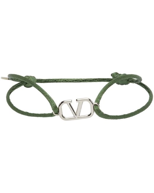 メンズ Valentino Garavani グリーン Vlogo コード ブレスレット Green