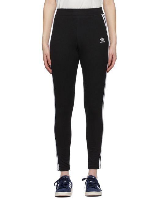 Adidas Originals ブラック & ホワイト Adicolor 3-stripes レギンス Black