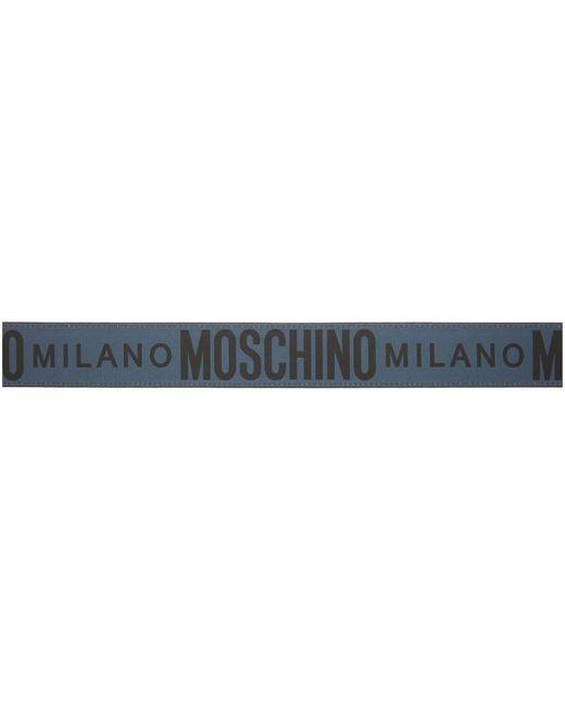 メンズ Moschino グレー ロゴ ベルト Gray