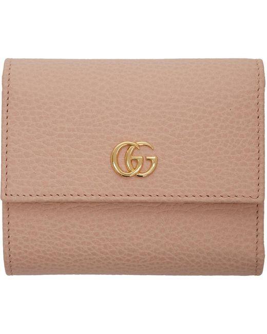 Gucci ピンク スモール GG マーモント トライフォールド ウォレット Pink