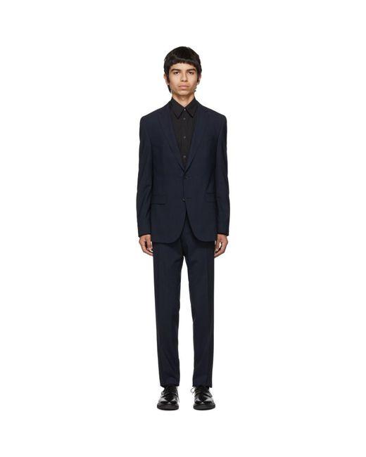 メンズ BOSS by Hugo Boss ブルー バージン Novan Ben チェック スーツ Blue