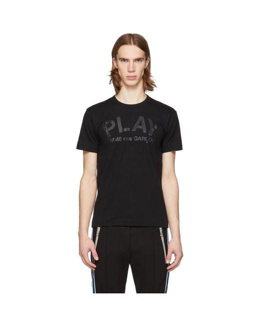 メンズ COMME DES GARÇONS PLAY ブラック ロゴ T シャツ Black