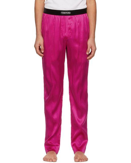 メンズ Tom Ford ピンク シルク パジャマ パンツ Pink