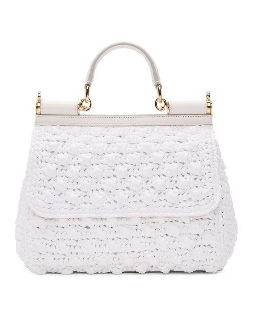 Dolce   Gabbana White Medium Raffia Miss Sicily Bag in White - Lyst dc7aaf71fa3b6