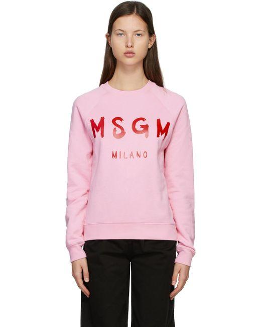 MSGM ピンク & レッド Brushed ロゴ スウェットシャツ Pink