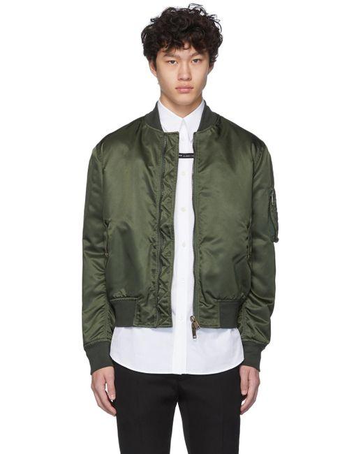 メンズ Givenchy カーキ ボタン ボンバー ジャケット Green