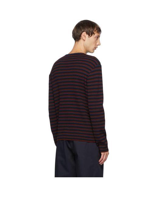 メンズ Dries Van Noten バーガンディ And ネイビー リブ セーター Multicolor