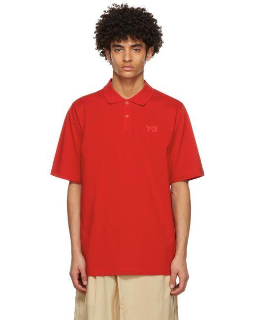 メンズ Y-3 レッド Classic ロゴ ポロシャツ Red