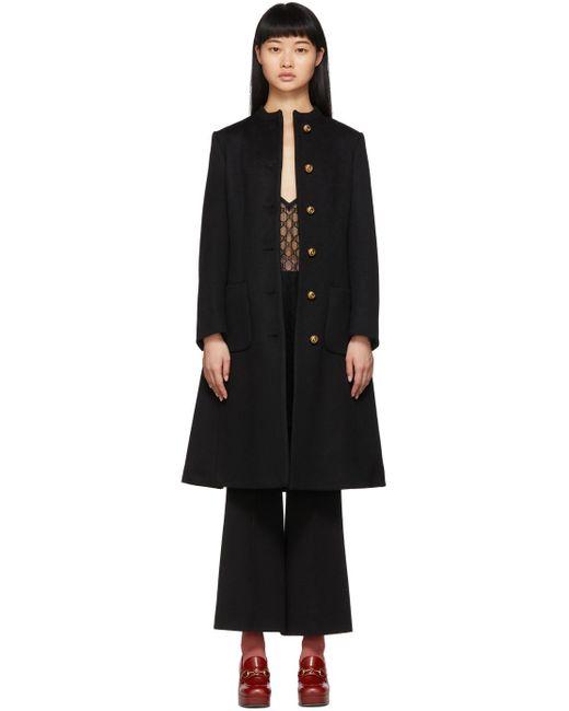 Gucci ブラック ウール コート Black