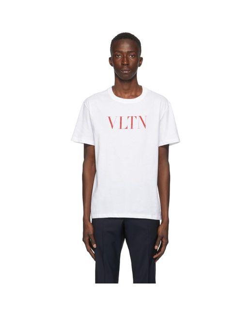 メンズ Valentino ホワイト And レッド Vltn T シャツ White