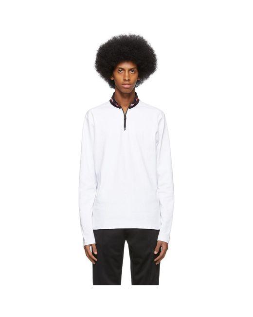 メンズ HUGO ホワイト Doder ハーフジップ セーター White