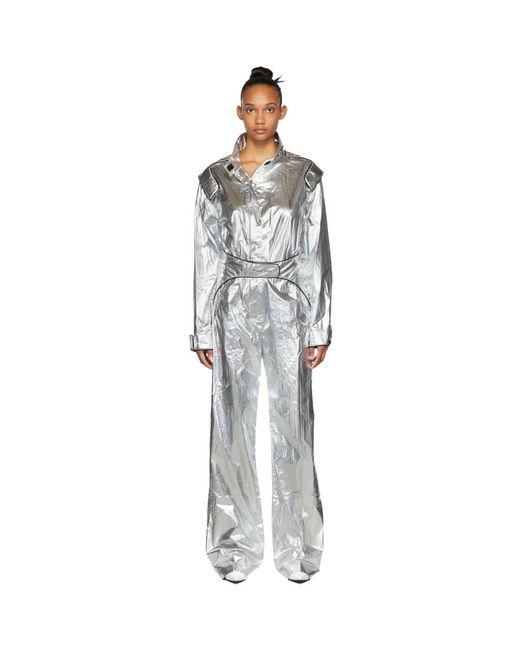 Off-White c/o Virgil Abloh Metallic Silver Racing Loose Jumpsuit