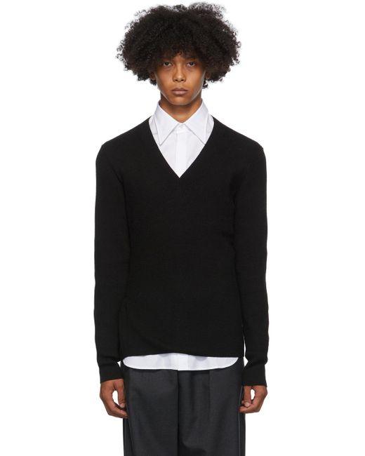 メンズ Dries Van Noten ブラック スリム V ネック セーター Black