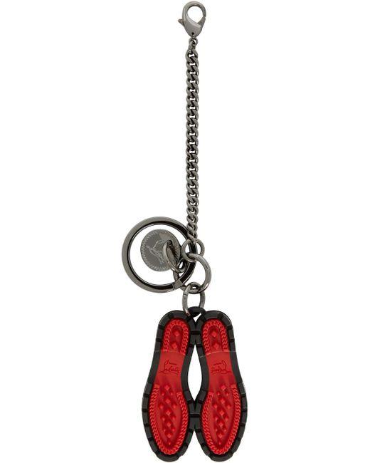 メンズ Christian Louboutin ブラック & レッド ラグ ソール キーチェーン Red