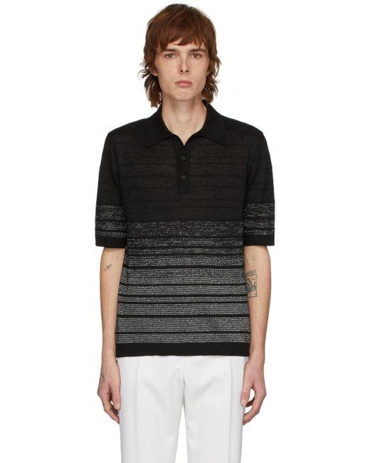 メンズ Saint Laurent ブラック & シルバー ルレックス ポロ Black