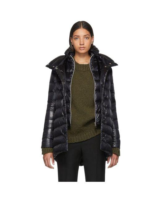 Herno Black Down A-line Coat