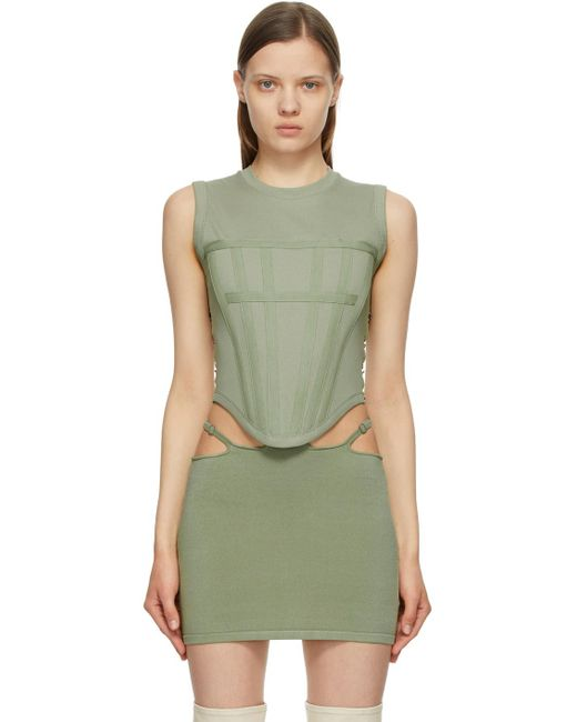 Dion Lee カーキ リブ Corset タンク トップ Green