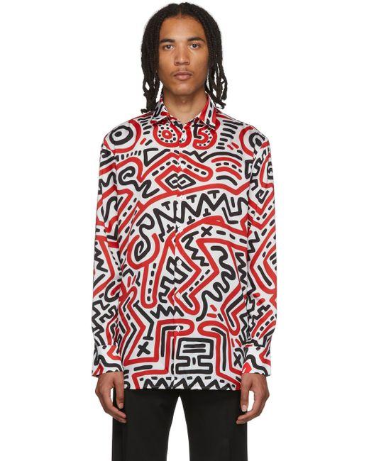 メンズ Etudes Studio Keith Haring Edition マルチカラー All Over Reflet シャツ Red