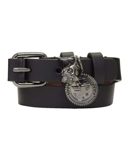 Alexander McQueen - Black Skull Wide Double Wrap Bracelet for Men - Lyst