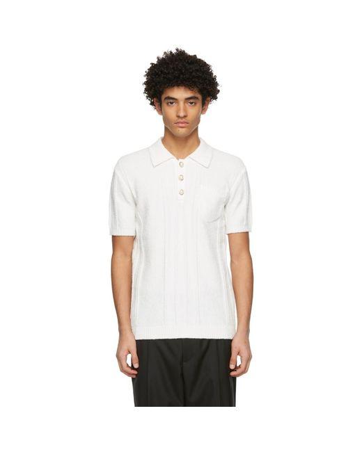 メンズ CASABLANCA ホワイト Boucle Knit ポロシャツ White