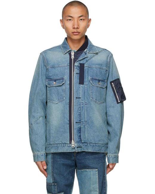 メンズ Sacai ブルー デニム ジャケット Blue