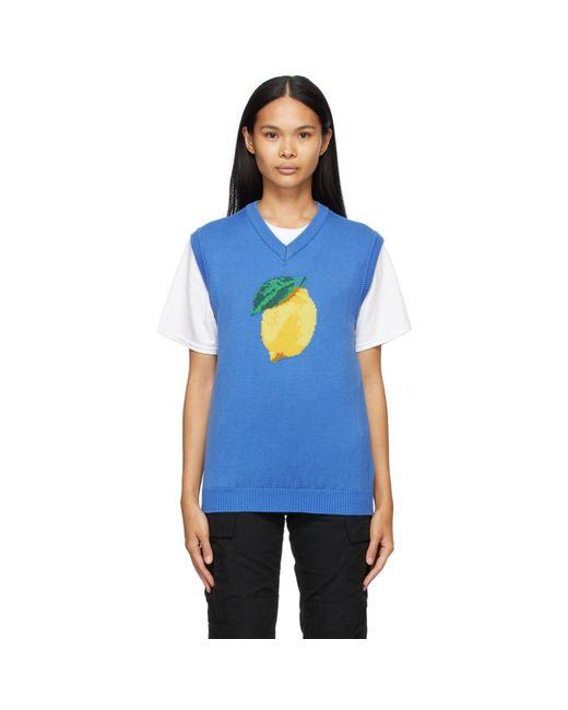 AWAKE NY ブルー Lemon ベスト Blue