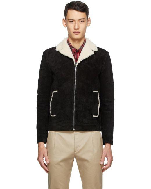 メンズ Saint Laurent ブラック シアリング ショート ジャケット Black