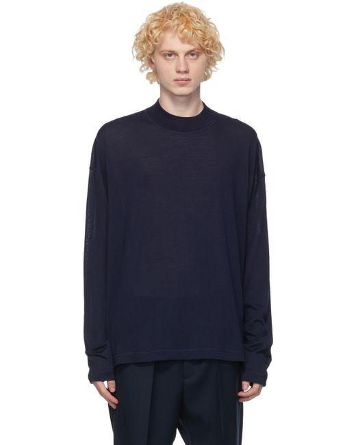 Pull à col ras du cou en laine indigo Jil Sander pour homme en coloris Blue