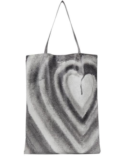 Acne Ben Quinn エディション ホワイト & ブラック Oilcloth Heart トート Multicolor
