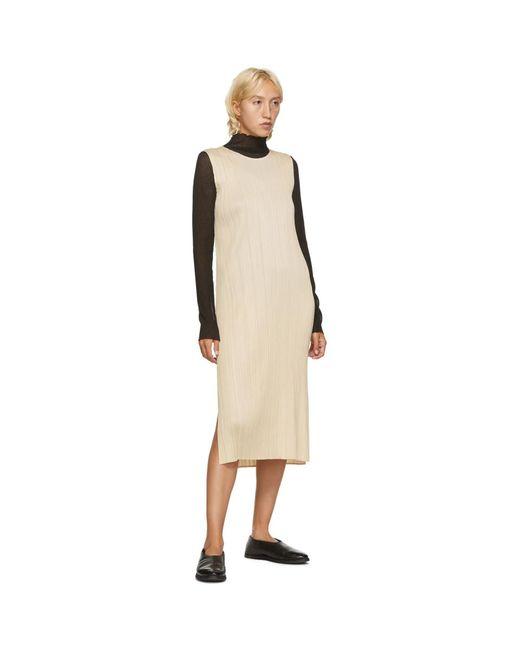 Pleats Please Issey Miyake ベージュ ノースリーブ ミッドレングス ドレス White