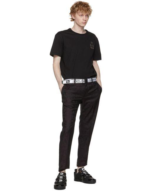 メンズ Dolce & Gabbana ホワイト Tape ロゴ ベルト Black
