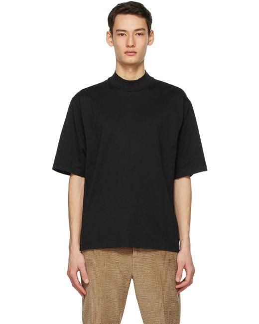 メンズ Acne ブラック モックネック T シャツ Black