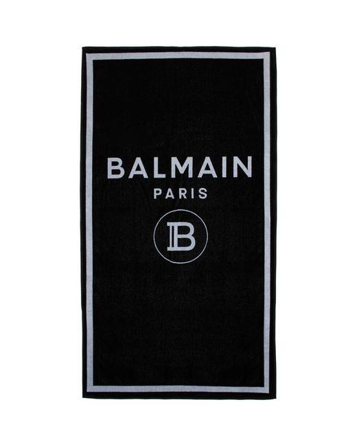 Balmain ブラック ロゴ タオル Black