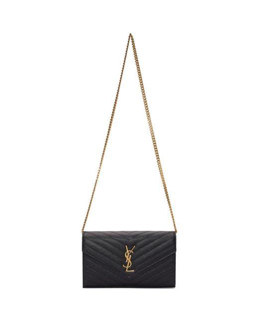 Sac portefeuille enveloppe a chaine noir Monogramme Saint Laurent en coloris Black