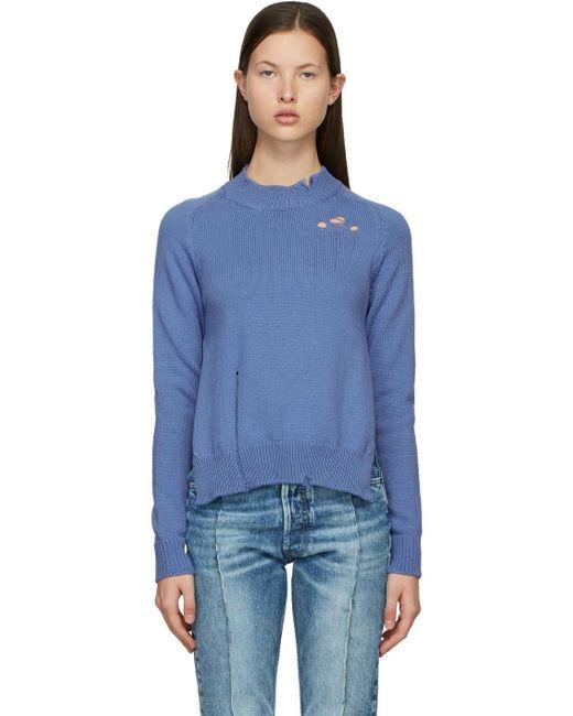 Maison Margiela ブルー Destroyed セーター Blue