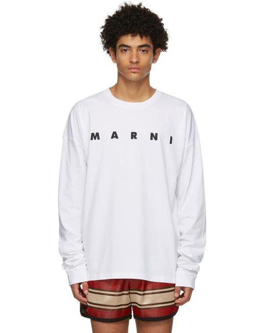 メンズ Marni ホワイト ロゴ ロング スリーブ T シャツ White