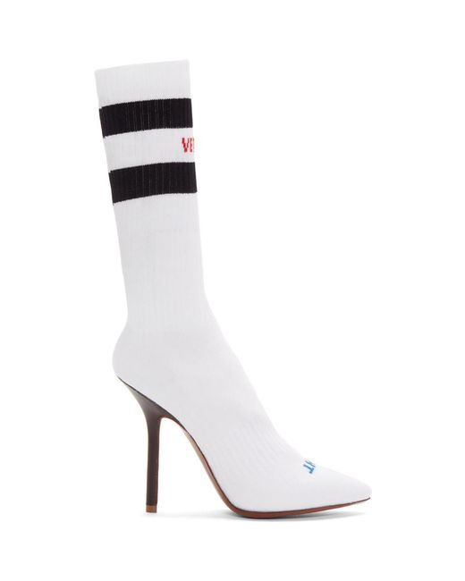 Vetements - White Logo And Stripes Sock Boots - Lyst